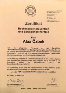 Zertifikat Beckenbodenprävention und Bewegungstherapie - Hebamme Alaá Özbek