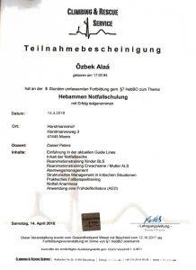 Zertifikat Hebammen Notfallschulung - Hebamme Alaá Özbek