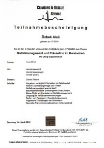 Zertifikat Notfallmanagement und Prävention im Kursbetrieb - Hebamme Alaá Özbek